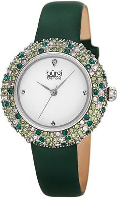 Burgi Women's Satin Over Leather Diamond Watch