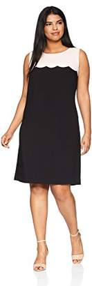 Nine West Women's Plus Size Crepe a Line Scalloped Dress