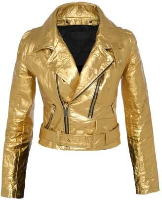 ALTIIR - Women'S Neo-Classic Biker Jacket In Gold