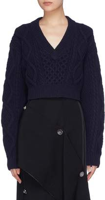 3.1 Phillip Lim Tie open back cropped cable knit sweater
