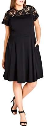 City Chic Dark Mistress Lace Yoke A-Line Dress
