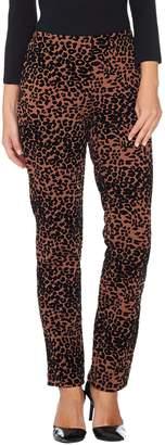 Women With Control Women with Control Petite Leopard Flocked Ponte Knit Slim Leg Pants