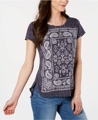 Style&Co. Style & Co Graphic-Print High-Low T-Shirt, Created for Macy's