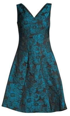 Donna Karan Floral Jacquard Fit-&-Flare Dress