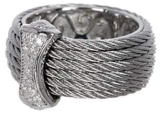 Alor 18K White Gold, Stainless Steel & Gray CBL Diamond Bar Ring - 0.12 ctw