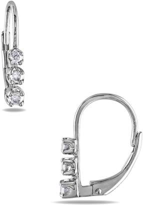 Concerto Sterling Silver 0.25 CT. T.W. Diamond Three-Stone Earrings