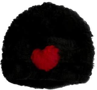 Jocelyn Heart-Intarsia Fur Hat w/ Tags