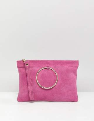 Asos DESIGN zip top suede clutch bag with ring detail