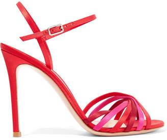 Gianvito Rossi Dalida 100 Color-block Satin Sandals - Red