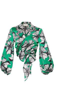 Alexis Rolla Floral-Print Cropped Satin Wrap Top Size: XL