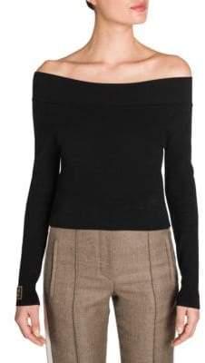 Fendi Off-The-Shoulder Knit Logo Trim Sweater