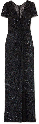 Jenny Packham Java Wrap-effect Embellished Tulle Gown - Black