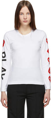 Comme des Garcons White and Red Logo Hearts Long Sleeve T-Shirt
