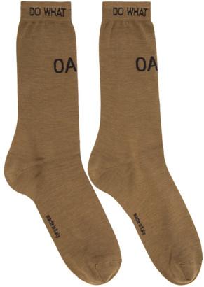 OAMC Tan Logo Socks $120 thestylecure.com