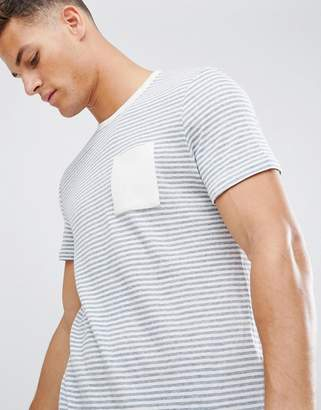 Celio t-shirt in stripe with pocket in white