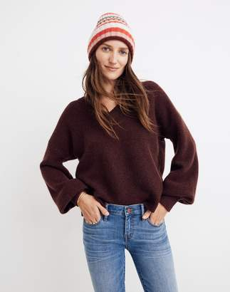 Madewell Cashmere V-Neck Bubble-Sleeve Sweater
