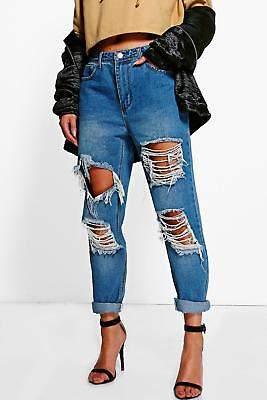 Damen Ria Boyfriend-Jeans in Used-Optik mit niedrigem Bund in Mittelblau