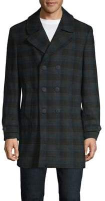 Tommy Hilfiger Plaid Wool-Blend Peacoat