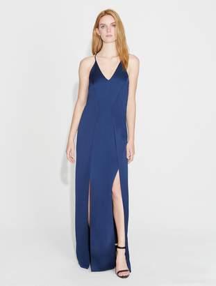 Halston Satin Slip Gown with Slits