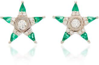 Melis Goral Mars 18K Gold Diamond And Tsavorite Earrings