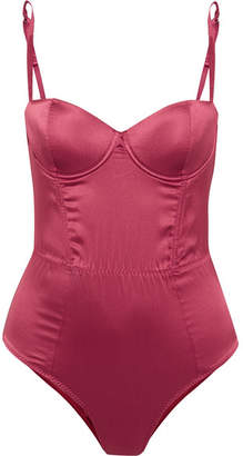 Fleur Du Mal Mesh-paneled Stretch-silk Satin Bodysuit - Crimson