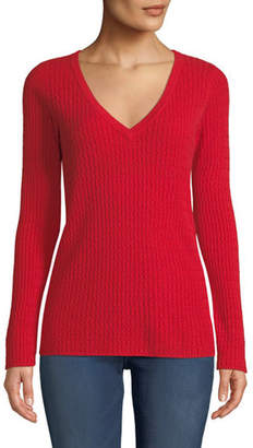 Neiman Marcus Baby Cable V-Neck Cashmere Sweater