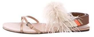 Prada 2016 Feather-Trimmed Sandals