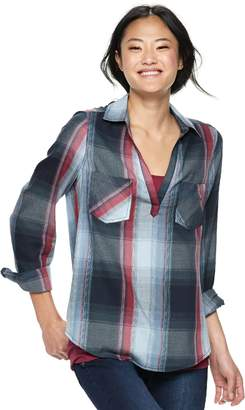 Mudd Juniors' Plaid Popover Tunic