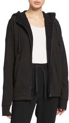 Vince Hooded Sherpa Zip-Front Jacket
