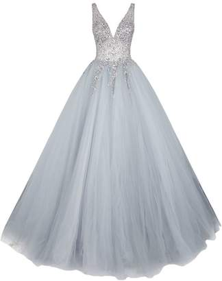 Jovani Crystal Embellished Tulle Gown
