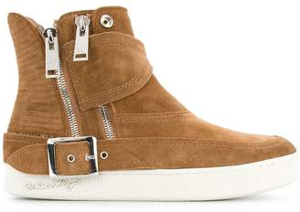 White Flags Whiteflags buckle detail zip hi-top sneakers