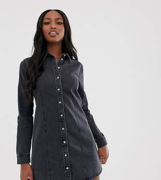 cdcb5917cd6 Asos Tall DESIGN Tall denim fitted western shirt dress in washed black