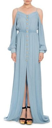 Balmain Cold-Shoulder Chambray Maxi Dress, Light Blue $1,700 thestylecure.com