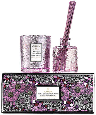 Voluspa Japanese Plum Bloom Scalloped Candle & Diffuser Gift Set.