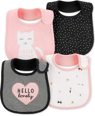 Carter's Baby Girls 4-Pack Graphic-Print Teething Bibs