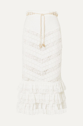 Zimmermann Veneto Perennial Ruffled Broderie Anglaise Gauze And Lace Skirt - Ivory