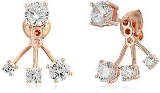 Crislu 18K Rose Gold Plated Sterling Silver Cubic Zirconia Graduated Earring Jackets