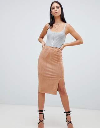 Missguided faux suede split leg midi skirt in camel