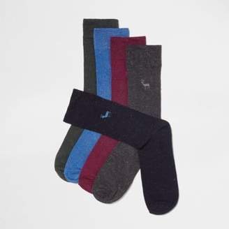 River Island Navy stag embroidered socks multipack