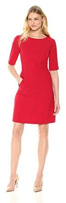 Lark & Ro Women's Three Quarter Sleeve Sheath Dress with Pockets