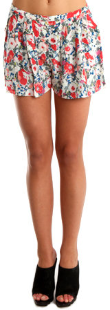 Charlotte Ronson Floral Pleated Short