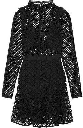 Self-Portrait - Ruffled Organza-trimmed Guipure Lace Mini Dress - Black $475 thestylecure.com