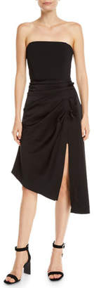 Ramy Brook Carmen Gathered Strapless Asymmetrical Cocktail Dress
