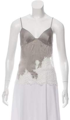 Agent Provocateur Silk Lace-Accented Top