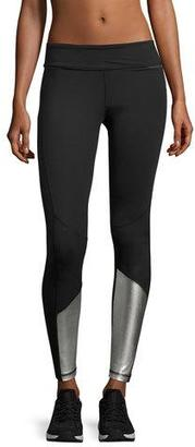 Alala Blocked Ankle Running Tights/Leggings, Black/Silver $125 thestylecure.com