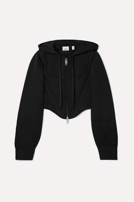 Burberry Cropped Paneled Modal-neoprene Hoodie - Black
