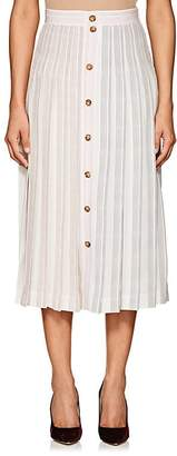 Victoria Beckham Women's Striped Silk Button-Front Midi-Skirt