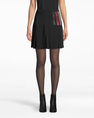 Nicole Miller Exposed Zippers Pleated Mini Skirt