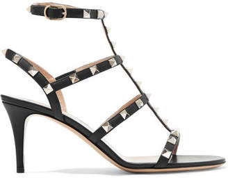 Valentino - Rockstud Leather Sandals - Black $995 thestylecure.com