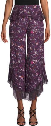 Anna Sui Fairy Field Crepe & Daisy Velvet Burnout Pant